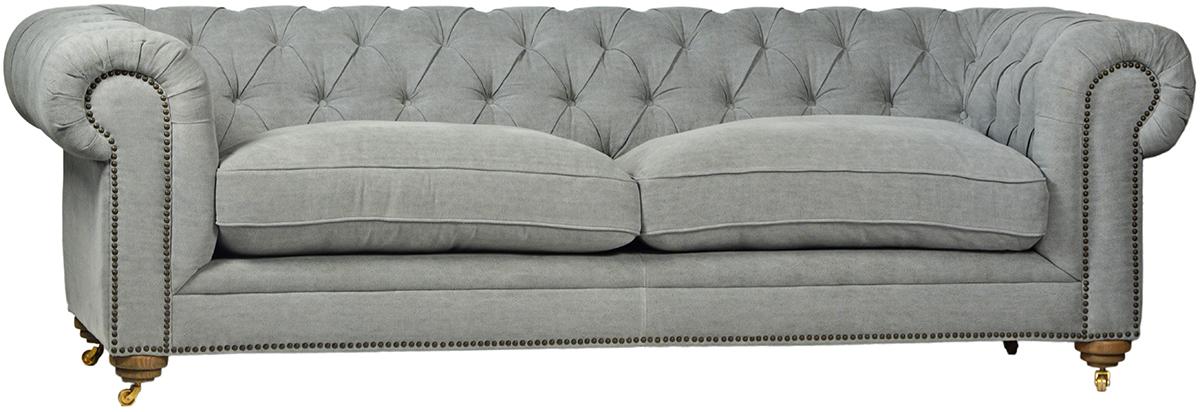Grey Tufted Linen Sofa