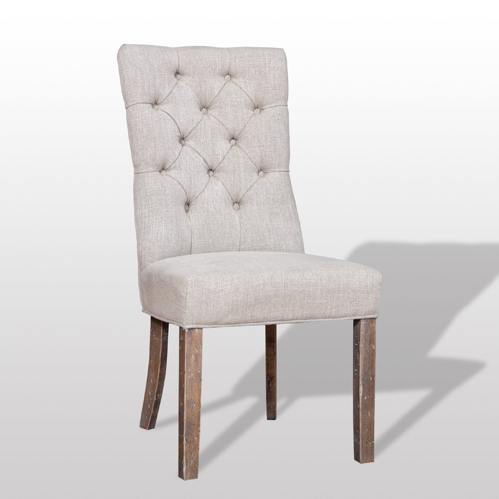linen tufted dining chair